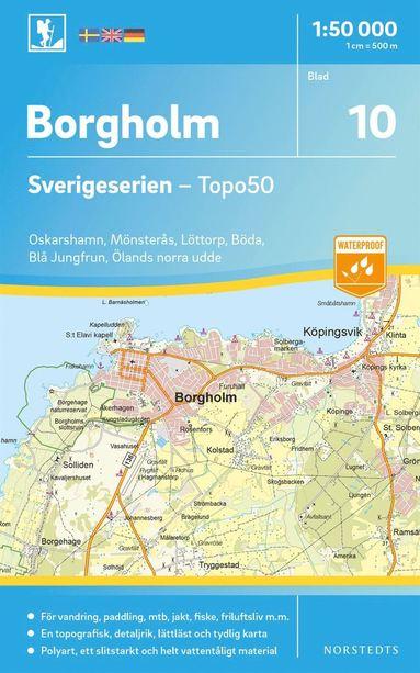 bokomslag 10 Borgholm Sverigeserien Topo50 : Skala 1:50 000