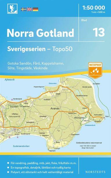 bokomslag 13 Norra Gotland Sverigeserien Topo50 : Skala 1:50 000