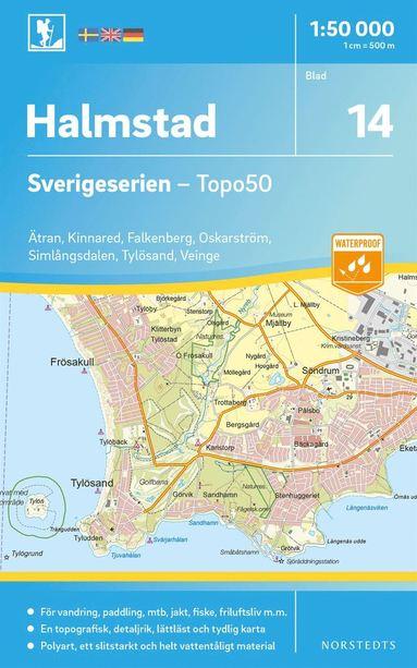 bokomslag 14 Halmstad Sverigeserien Topo50 : Skala 1:50 000