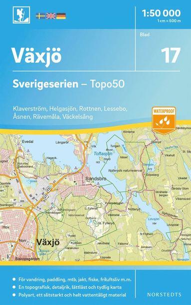 bokomslag 17 Växjö Sverigeserien Topo50 : Skala 1:50 000