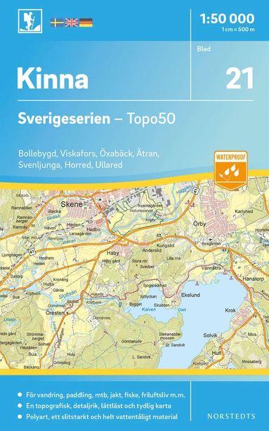 bokomslag 21 Kinna Sverigeserien Topo50 : Skala 1:50 000