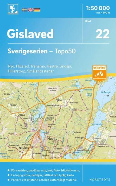 bokomslag 22 Gislaved Sverigeserien Topo50 : Skala 1:50 000