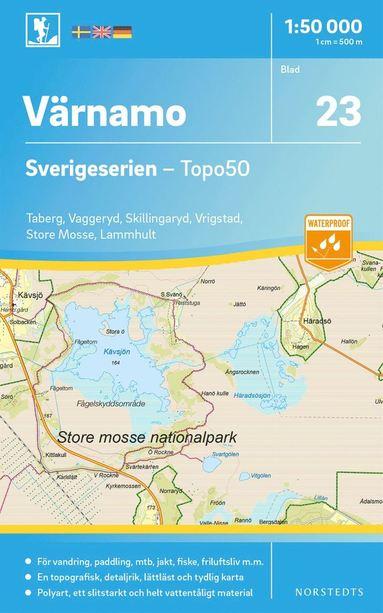bokomslag 23 Värnamo Sverigeserien Topo50 : Skala 1:50 000