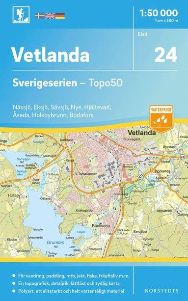 bokomslag 24 Vetlanda Sverigeserien Topo50 : Skala 1:50 000