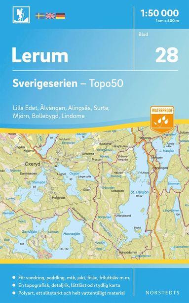 bokomslag 28 Lerum Sverigeserien Topo50 : Skala 1:50 000