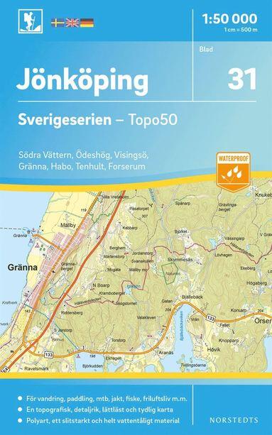 bokomslag 31 Jönköping Sverigeserien Topo50 : Skala 1:50 000