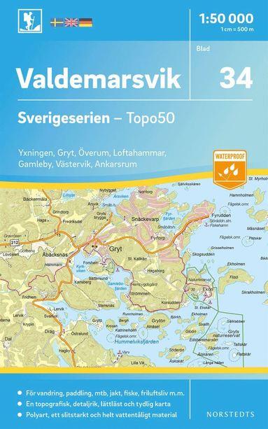 bokomslag 34 Valdemarsvik Sverigeserien Topo50 : Skala 1:50 000