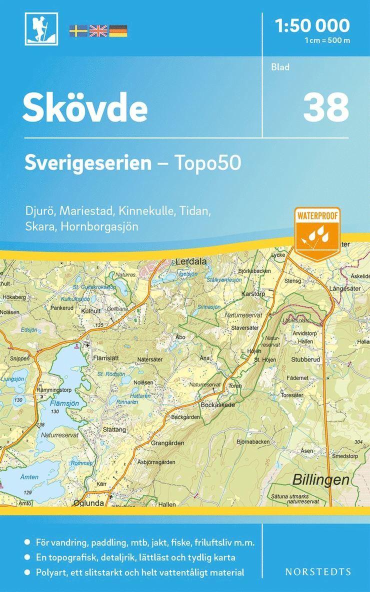 38 Skövde Sverigeserien Topo50 : Skala 1:50 000 1