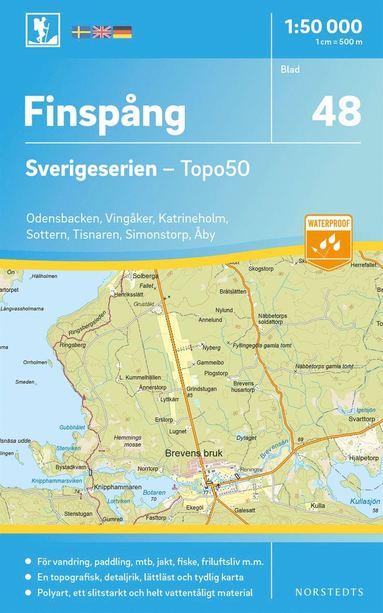 bokomslag 48 Finspång Sverigeserien Topo50 : Skala 1:50 000
