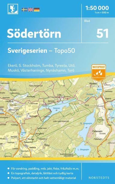 bokomslag 51 Södertörn Sverigeserien Topo50 : Skala 1:50 000