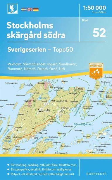 bokomslag 52 Stockholms skärgård södra Sverigeserien Topo50 : Skala 1:50 000