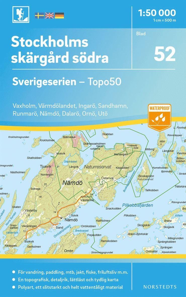 52 Stockholms skärgård södra Sverigeserien Topo50 : Skala 1:50 000 1