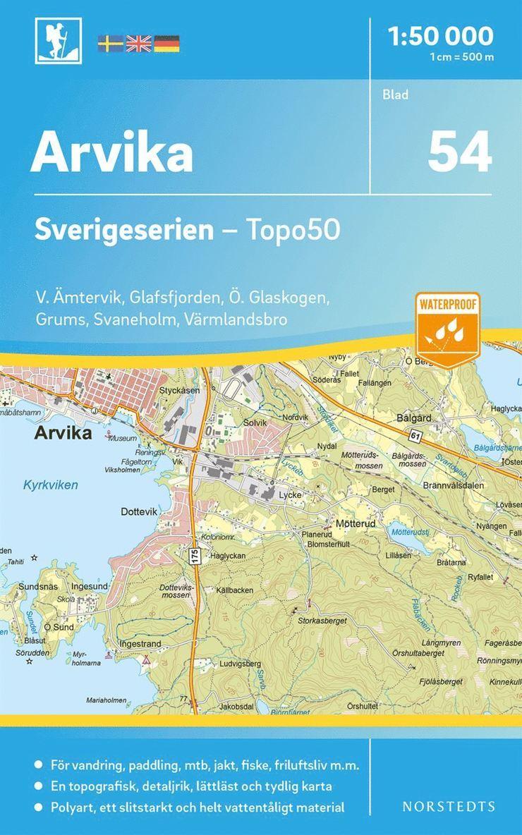 54 Arvika Sverigeserien Topo50 : Skala 1:50 000 1