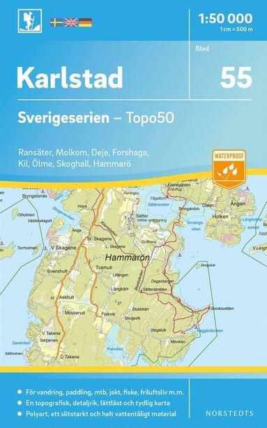 bokomslag 55 Karlstad Sverigeserien Topo50 : Skala 1:50 000