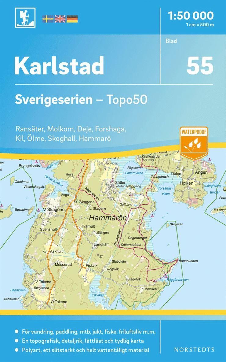 55 Karlstad Sverigeserien Topo50 : Skala 1:50 000 1