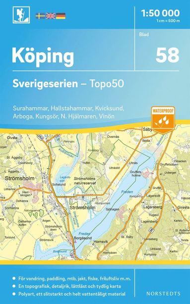 bokomslag 58 Köping Sverigeserien Topo50 : Skala 1:50 000