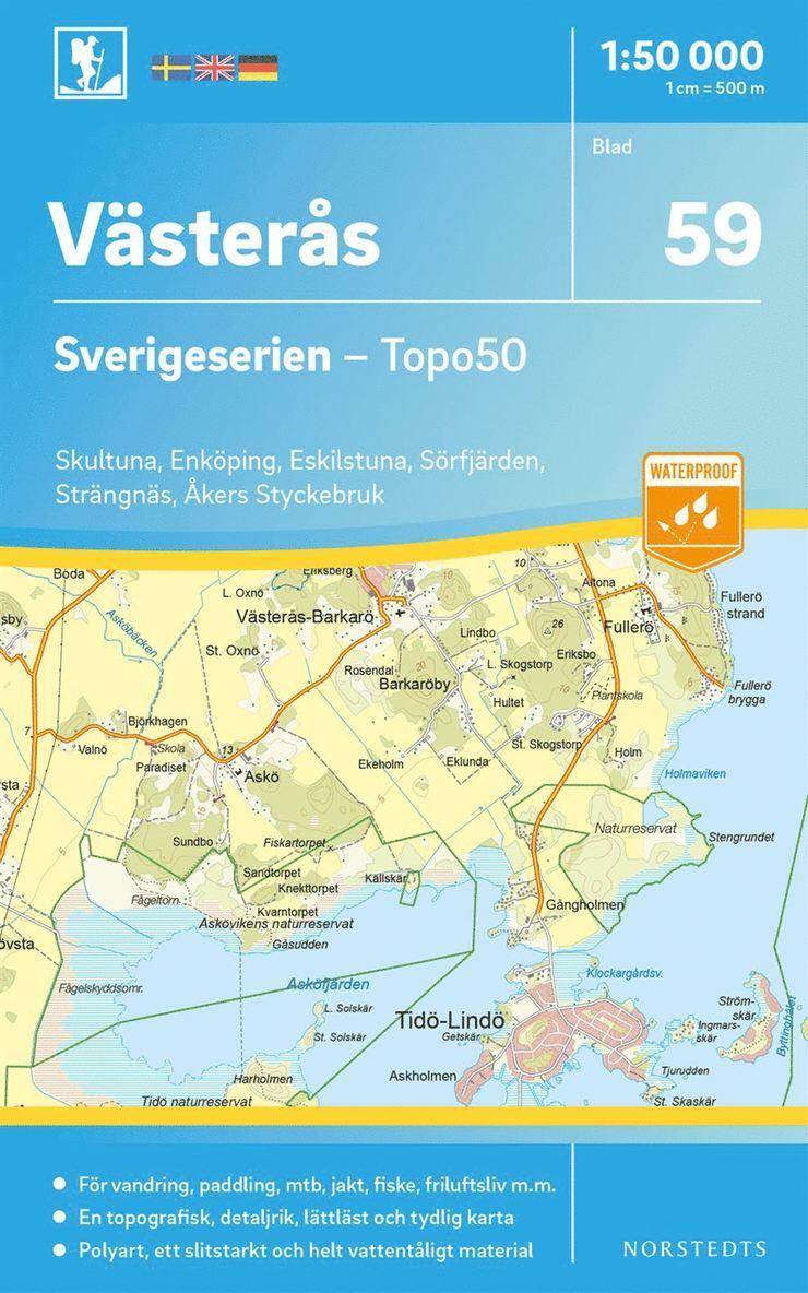 59 Västerås Sverigeserien Topo50 : Skala 1:50 000 1