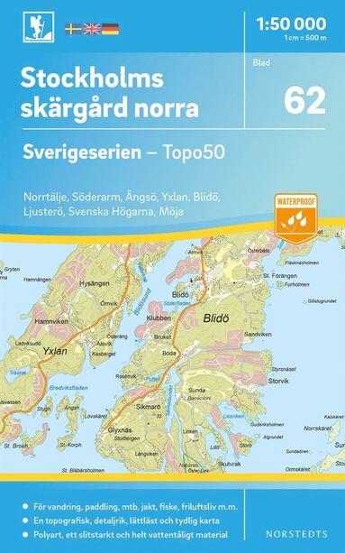 bokomslag 62 Stockholms Skärgård norra Sverigeserien Topo50 : Skala 1:50 000