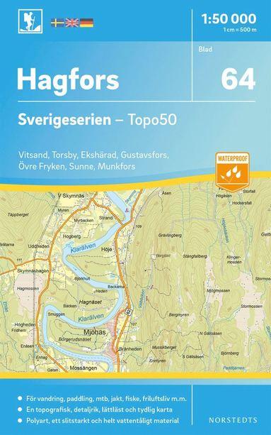 bokomslag 64 Hagfors Sverigeserien Topo50 : Skala 1:50 000
