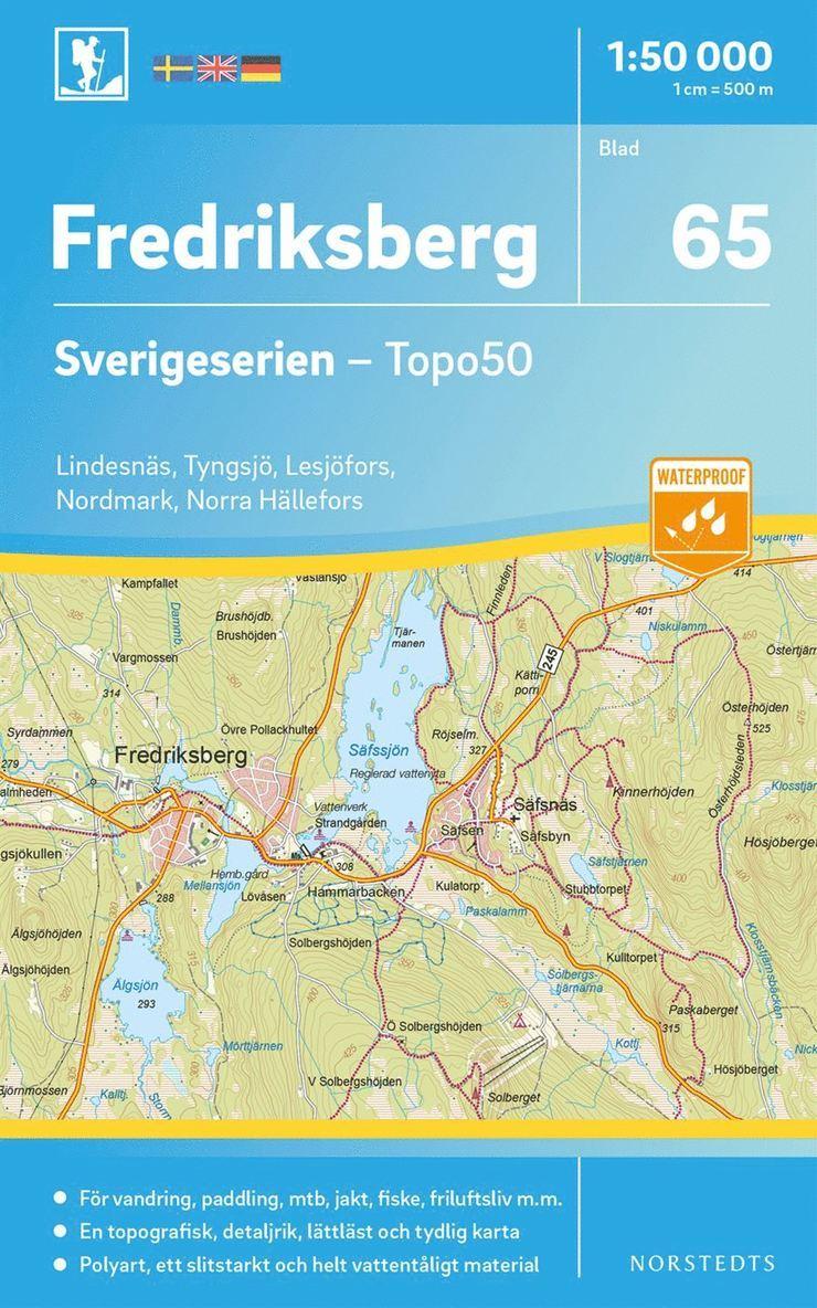 65 Fredriksberg Sverigeserien Topo50 : Skala 1:50 000 1