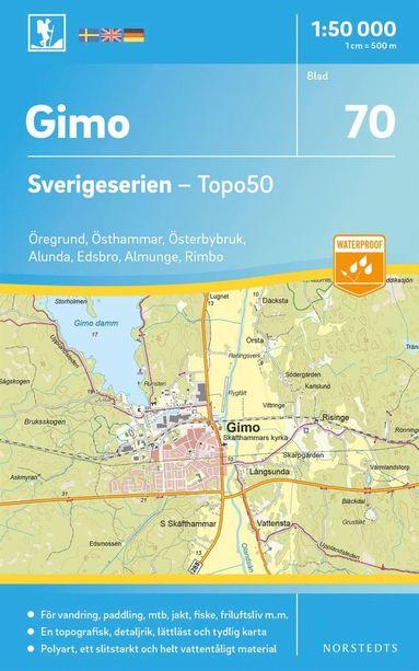 bokomslag 70 Gimo Sverigeserien Topo50 : Skala 1:50 000