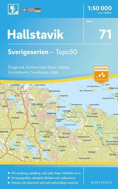bokomslag 71 Hallstavik Sverigeserien Topo50 : Skala 1:50 000