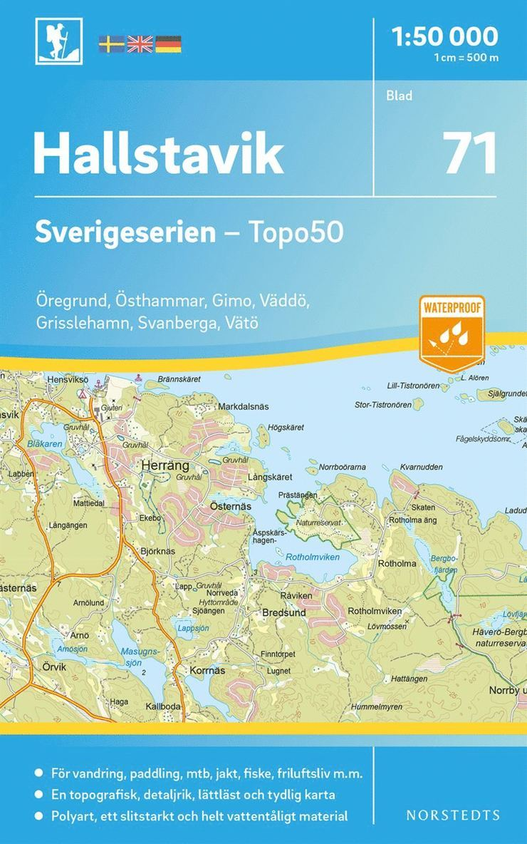 71 Hallstavik Sverigeserien Topo50 : Skala 1:50 000 1