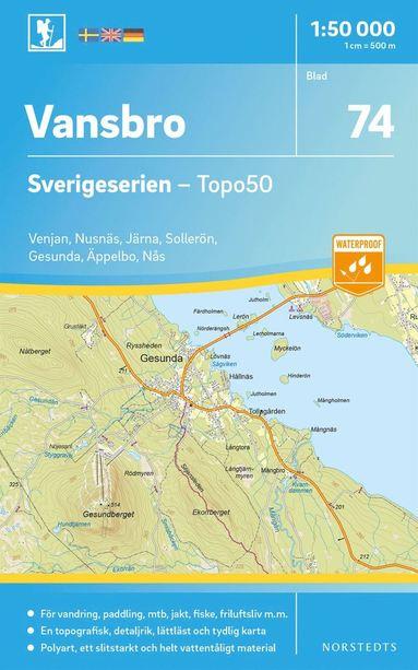 bokomslag 74 Vansbro Sverigeserien Topo50 : Skala 1:50 000