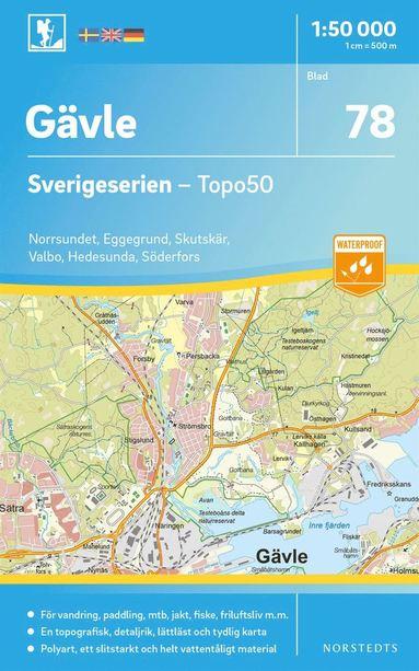 bokomslag 78 Gävle Sverigeserien Topo50 : Skala 1:50 000