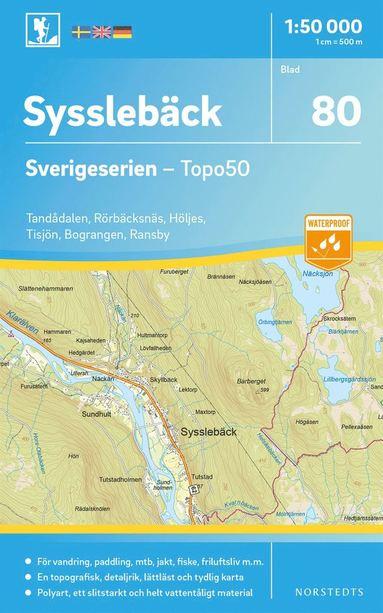 bokomslag 80 Sysslebäck Sverigeserien Topo50 : Skala 1:50 000