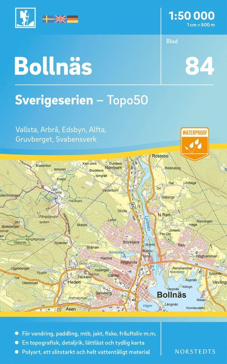 84 Bollnäs Sverigeserien Topo50 : Skala 1:50 000 1