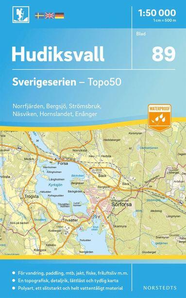 bokomslag 89 Hudiksvall Sverigeserien Topo50 : Skala 1:50 000