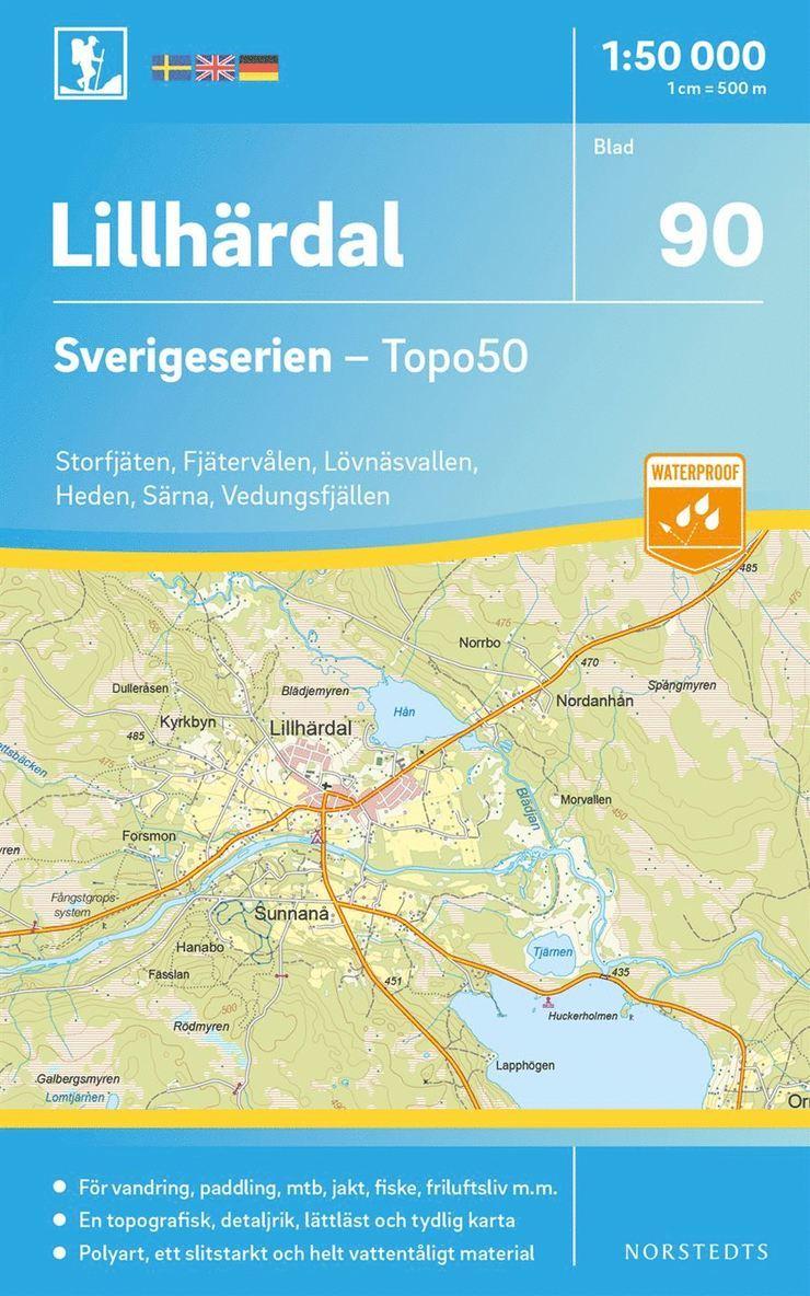 90 Lillhärdal Sverigeserien Topo50 : Skala 1:50 000 1
