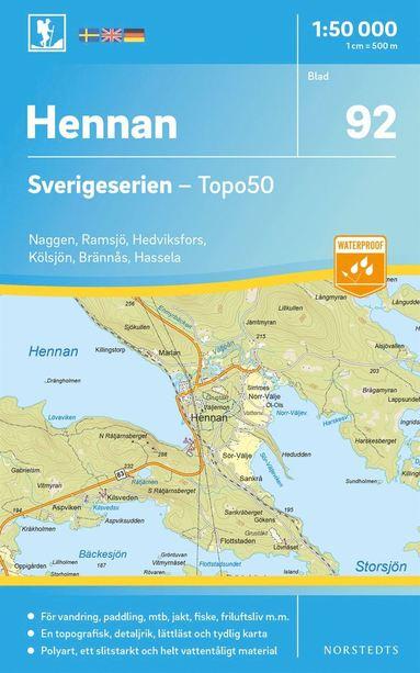 bokomslag 92 Hennan Sverigeserien Topo50 : Skala 1:50 000
