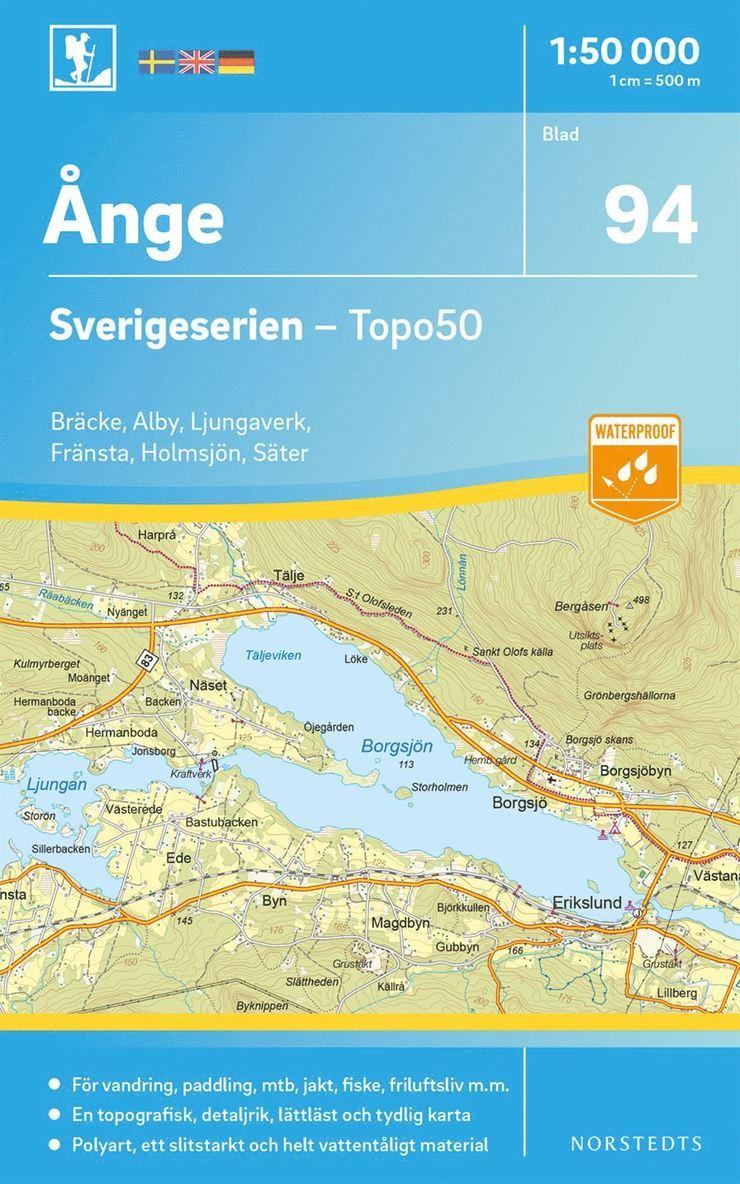 94 Ånge Sverigeserien Topo50 : Skala 1:50 000 1