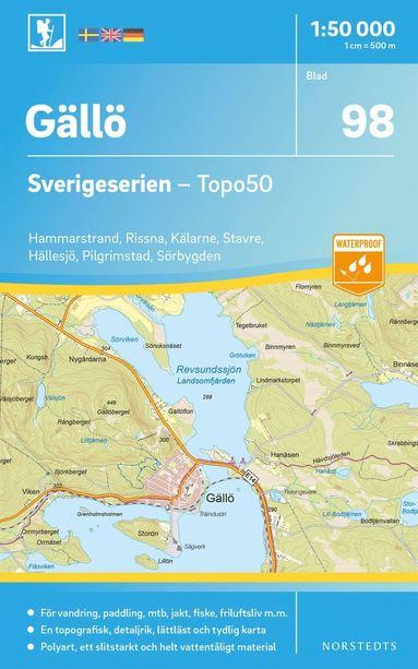 bokomslag 98 Gällö Sverigeserien Topo50 : Skala 1:50 000