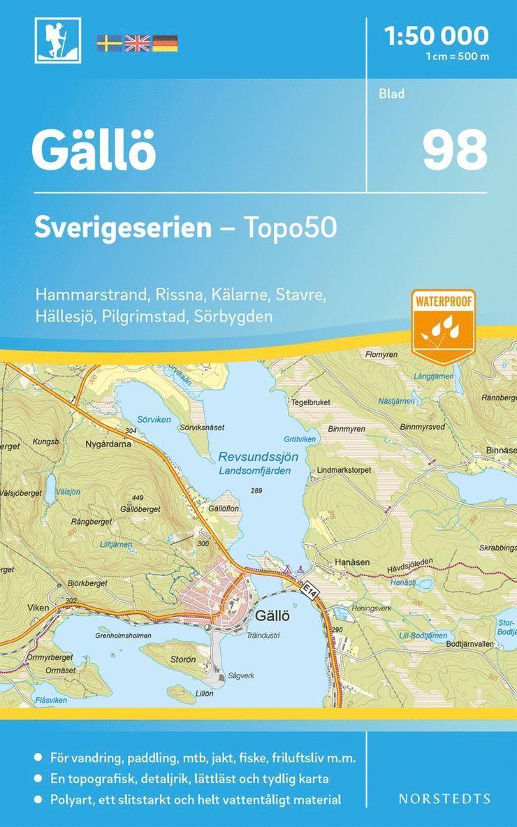 98 Gällö Sverigeserien Topo50 : Skala 1:50 000 1