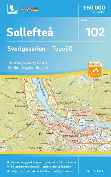 bokomslag 102 Sollefteå Sverigeserien Topo50 : Skala 1:50 000