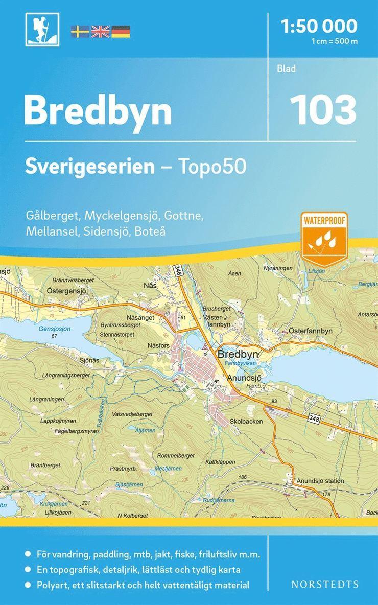 103 Bredbyn Sverigeserien Topo50 : Skala 1:50 000 1