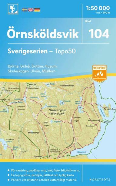bokomslag 104 Örnsköldsvik Sverigeserien Topo50 : Skala 1:50 000
