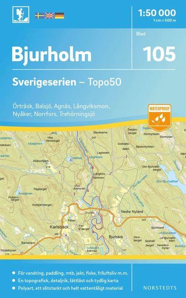bokomslag 105 Bjurholm Sverigeserien Topo50 : Skala 1:50 000