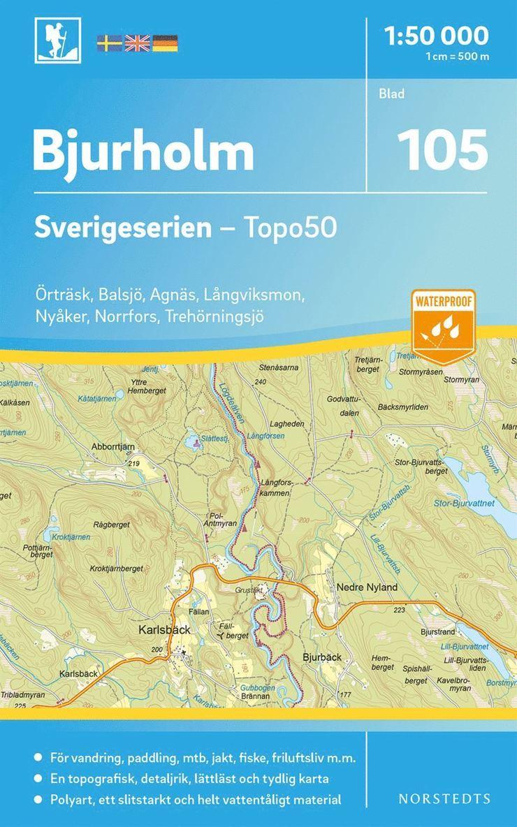 105 Bjurholm Sverigeserien Topo50 : Skala 1:50 000 1