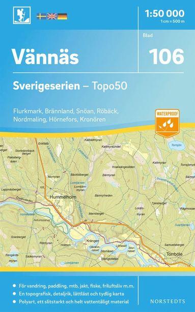 bokomslag 106 Vännäs Sverigeserien Topo50 : Skala 1:50 000