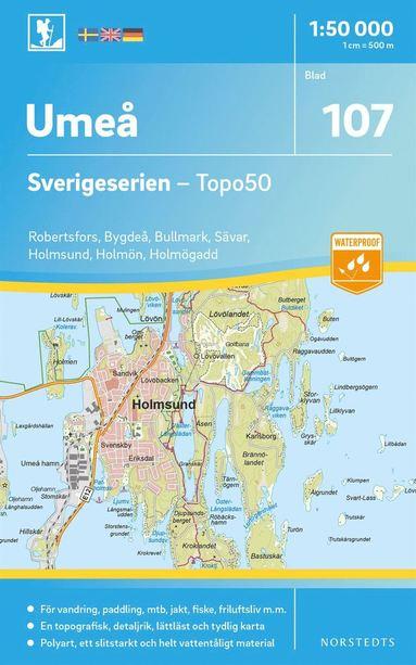 bokomslag 107 Umeå Sverigeserien Topo50 : Skala 1:50 000
