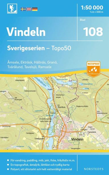 bokomslag 108 Vindeln Sverigeserien Topo50 : Skala 1:50 000