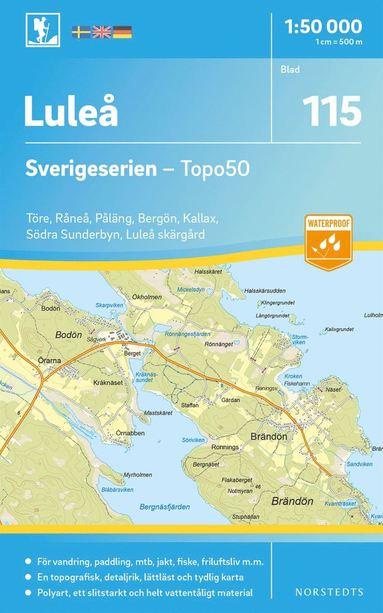 bokomslag 115 Luleå Sverigeserien Topo50 : Skala 1:50 000