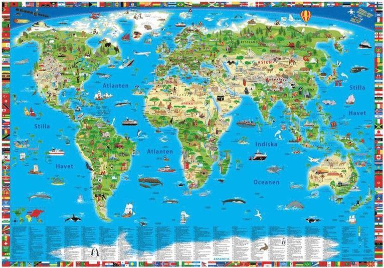 Världskarta för barn väggkarta i tub 1