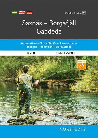 bokomslag Outdoorkartan Saxnäs Borgafjäll Gäddede : Blad 8 Skala 1:75 000