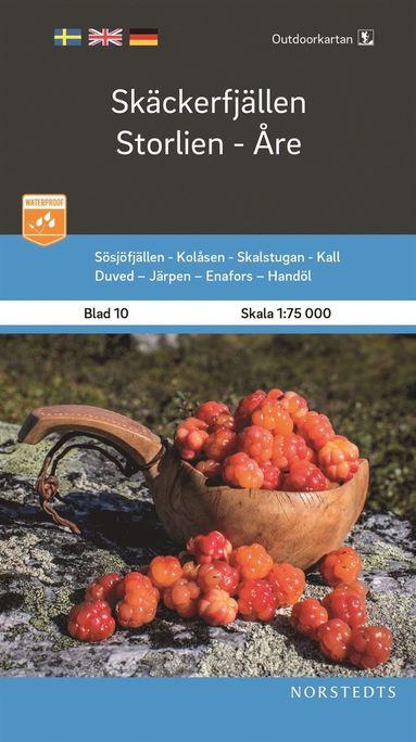 bokomslag Outdoorkartan Skäckerfjällen Storlien Åre : Blad 10 Skala 1:75 000