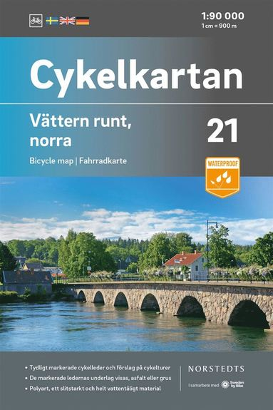 bokomslag Cykelkartan Blad 21 Vättern runt, norra delen : Skala 1:90 000